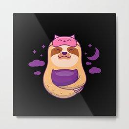 Sloth Nap Queen Sleeping Mask  Kawaii Metal Print