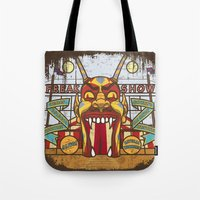ahs Tote Bags featuring AHS Freak Show by Samtronika
