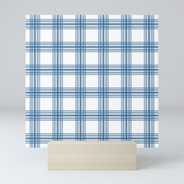 Farmhouse Plaid in Blue on White Mini Art Print