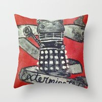 dalek Throw Pillows featuring Dalek by AntiPosi