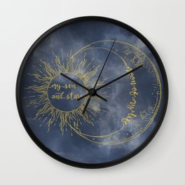 Gold Moon of My Life. My Sun and Stars Wall Clock
