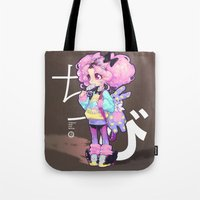 chibi Tote Bags featuring chibi by barachan