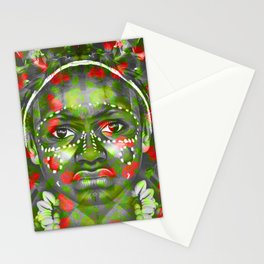 Indian face through apple brunches pattern Stationery Cards