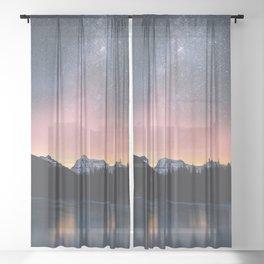 Milky Way Stars Mountain Landscape Sheer Curtain