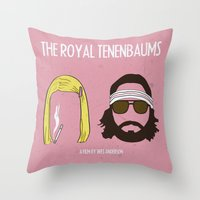 royal tenenbaums Throw Pillows featuring The Royal Tenenbaums by gokce inan