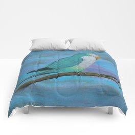Cuddly blue quaker parrot Comforters