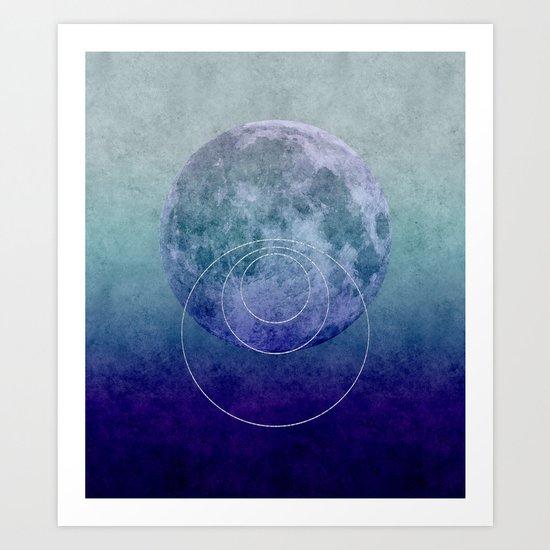 Blue Moon geometric circle mixed media Art Print