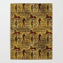 Egyptian Decorative hieroglyphics Pattern Poster