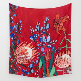 Red and Blue Floral with Peach Proteas Wall Tapestry