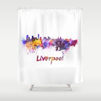 liverpool Shower Curtains featuring Liverpool skyline in watercolor by Paulrommer