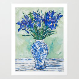 Iris Bouquet in Chinoiserie Vase on Blue and White Striped Tablecloth on Painterly Mint Green Art Print
