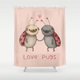 Love Pugs Shower Curtain