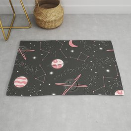Universe with planets and stars seamless pattern, cosmos starry night sky 007 Rug