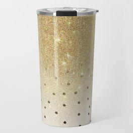 Black white polka dots gold glitter ombre Travel Mug