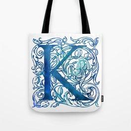 Letter K Antique Floral Letterpress Tote Bag