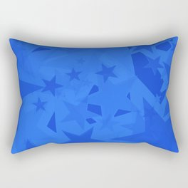 Chaotic blue stars on a sea background in projection and with depth. Rectangular Pillow