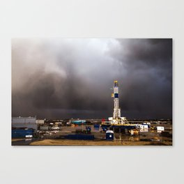 Oil Rig - Storm Passes Behind Derrick in Central Oklahoma Canvas Print