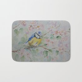 BLUE TIT Spring blossom and the little bird Wildlife watercolor painting Bath Mat