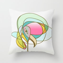 Geometric abstract coloured bird Throw Pillow