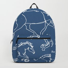 Galloping Horses, White on Navy Blue Backpack