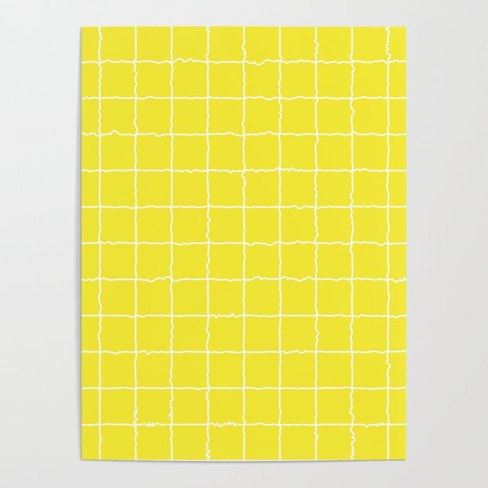 Lemon Yellow Grid Poster By Minimaldesign Society6