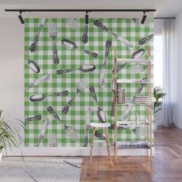 Utensils on Green Picnic Blanket Wall Mural