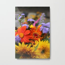 Summer Flower Bouquet with Bee Metal Print