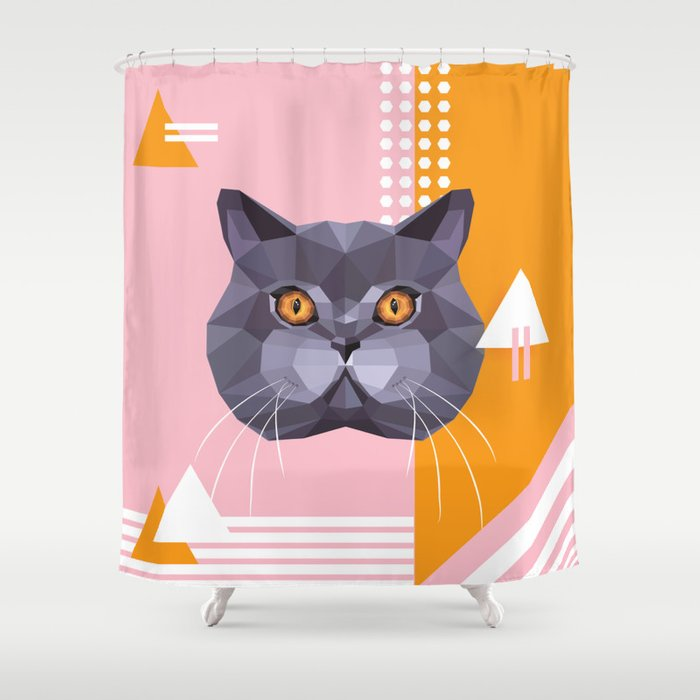 British Shorthair On A Memphis Style Shower Curtain By Dianahlevnjak