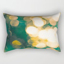 Green Turquoise Bokeh Blurred Lights Shimmer Shiny Dots Spots Circles Out Of Focus Rectangular Pillow