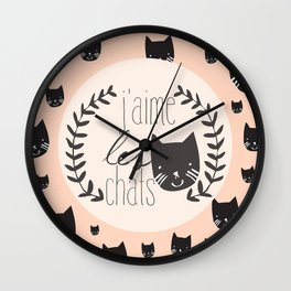 j'aime les chats Wall Clock