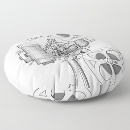 Film Projector Patent - Cinema Art - Black And White Floor Pillow