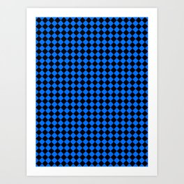 Black and Brandeis Blue Diamonds Art Print