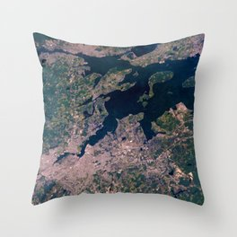 Providence, Newport, Narragansett Bay, Rhode Island Satellite Photograph Throw Pillow