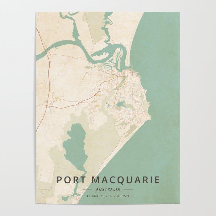 Australia Map Poster.Port Macquarie Australia Vintage Map Poster By Designermapart