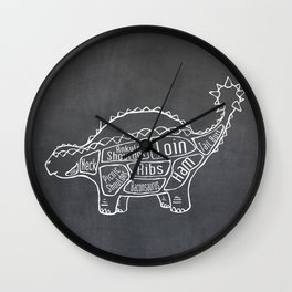 Ankylosaurus Dinosaur (A.K.A. Armored Lizard) Butcher Meat Diagram Wall Clock
