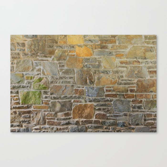 Avondale Brown Stone Wall and Mortar Texture Photography Canvas Print