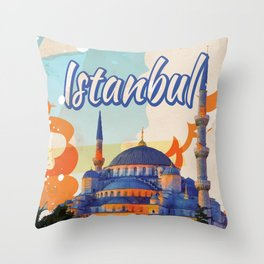 Istanbul Aya Sophia Mosque vintage travel poster Throw Pillow