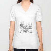 teacher V-neck T-shirts featuring small teacher by Mark Kovalchuk