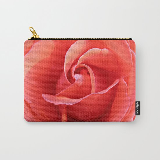 Salmon Floral Rose Abstract Carry-All Pouch