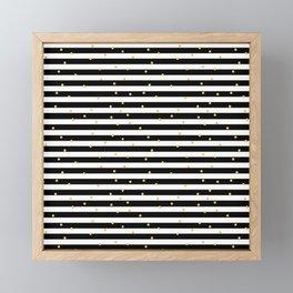 Modern black white gold polka dots striped pattern Framed Mini Art Print