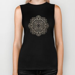 Mandala White Gold Shimmer by Nature Magick Biker Tank
