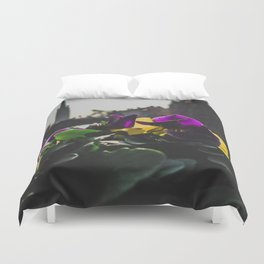 Bruges yellow and purple flowers Duvet Cover