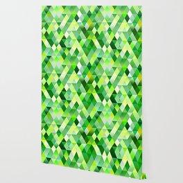 Lime Green Yellow White Diamond Triangles Mosaic Pattern Wallpaper