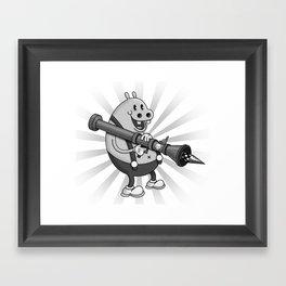 Retro Cartoon Hippo Framed Art Print