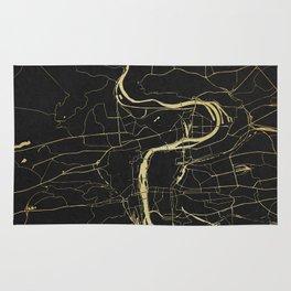 Prague Black and Gold Map Rug