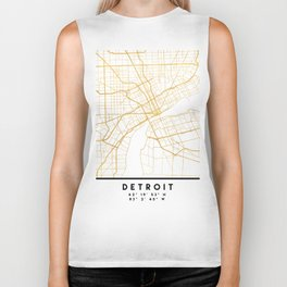 DETROIT MICHIGAN CITY STREET MAP ART Biker Tank