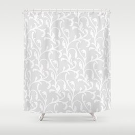 Pastel gray white abstract vintage damask pattern Shower Curtain