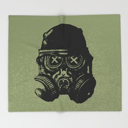 Gas mask skull Throw Blanket