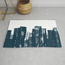 Rolled Ink Texture in Dark Blue Green and White Rug