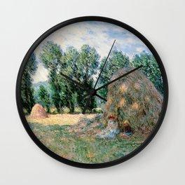 1885-Claude Monet-Haystacks-65 x 81 Wall Clock